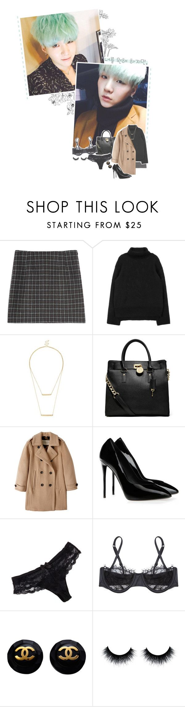 """━━━☆; fancy dinner date with yoongi"" by you-got-no-jams ❤ liked on Polyvore featuring Sole Society, MICHAEL Michael Kors, Burberry, Giuseppe Zanotti, Chantelle, Morgan Lane and outfitsbyeffie"