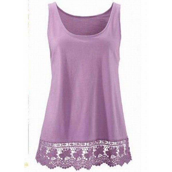 Lace Panel Round Neck Purple Tank Top ($15) ❤ liked on Polyvore featuring tops, shirts, purple, cami tops, pattern tank top, purple camisole, print tank top and collar top