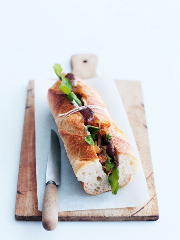 spicy lamb and caramelised onion baguette