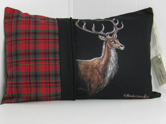 Elk Decorative Fine Art Pillow Hand Painted Made In Canada.