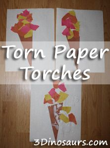 Torn Paper Torch - Plus an Extra 8 Page Printable for the Olympics Pack! 3Dinosaurs.com