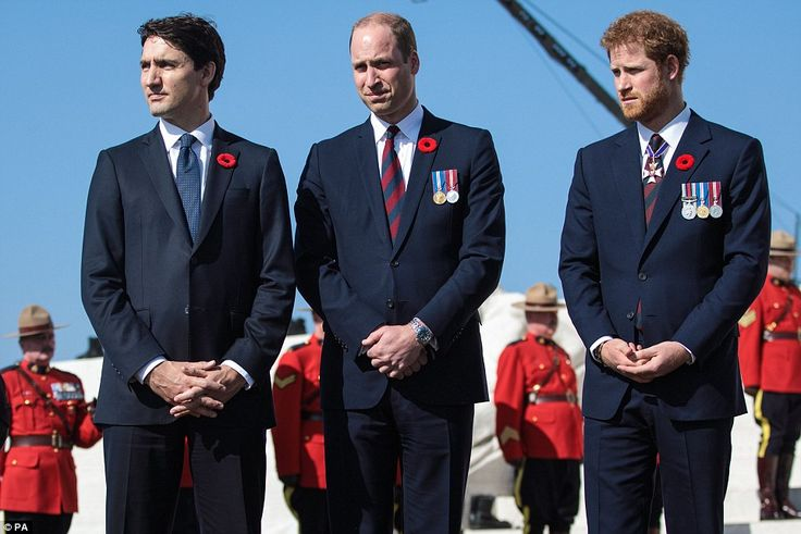 Harry, William and Mr Trudeau all paid their respects to the fallen soldiers as they arriv...