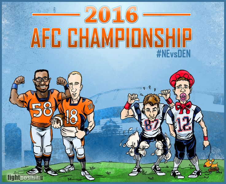 Denver Broncos vs New England Patriots in the 2016 AFC Championsship Game. #AFC #Broncos #Illustration #drawing #art #footballCartoons