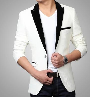 Осень белый приталенный fit мужчины пиджак chaquetones де-лос-hombres мужчины пиджак мужчины свободного покроя пиджаки синий официальный платья