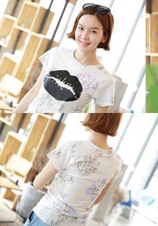 KISS Floral Print T-Shirt  SFSELFAA0013969