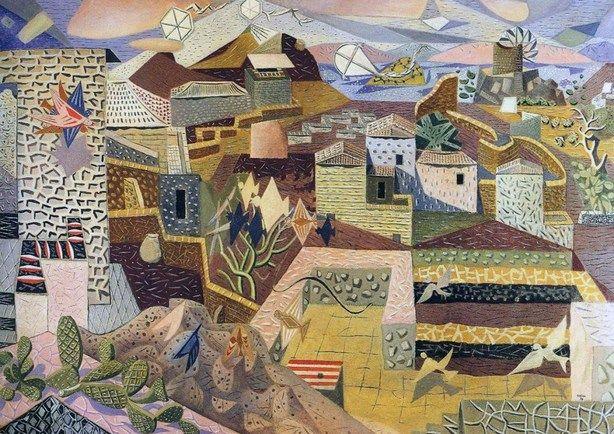 N. Xατζηκυριάκος-Γκίκας, «Μεγάλο τοπίο της Ύδρας» (1938), λάδι σε καμβά, 114x162, ιδιωτική συλλογή, Αθήνα.