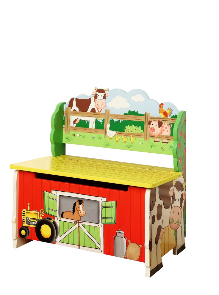 Running out of room to store your childrens toys and wish you had more space? Starting to feel like their room is turning into a pig stye? Throw everything into the barn! Teamson's Farm Storage Bench is hand crafted with high quality wood and vivid colors to display a farmer approved barn. With watch guard horse to keep your kids belongings safe, you can rest assured that they will stay in good shape.