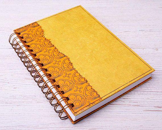 Yellow Dot Grid Notebook / yellow lotus journal / dot grid