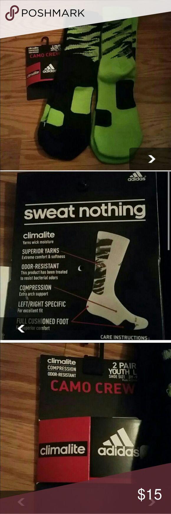 2 pairs adidas camo crew socks Youth size large. Fits youth size 3-9 Adidas Accessories Socks & Tights