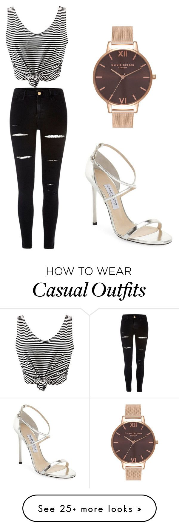 """""""Casual yet classy"""" by saritasarita21 on Polyvore featuring WithChic, Jimmy Choo, Olivia Burton and River Island"""