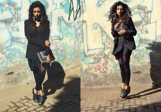 More looks by Rhea Gupte: http://lb.nu/thegirlfromfuss  #allblack #sheer #curly #fuss