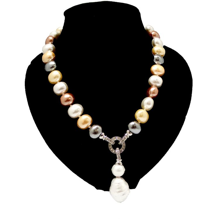 15mm Oval Round Multi-Colour Shell Pearl Beads With Crystal And Pearl Drop Necklace