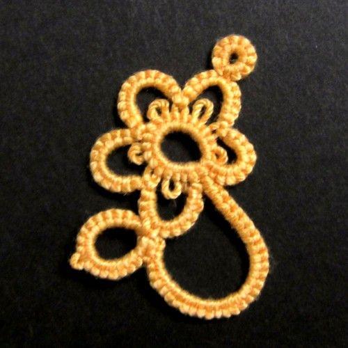 「【タティング】花モチーフ④【モチーフ】」小さめの花モチーフです。[材料]レース糸