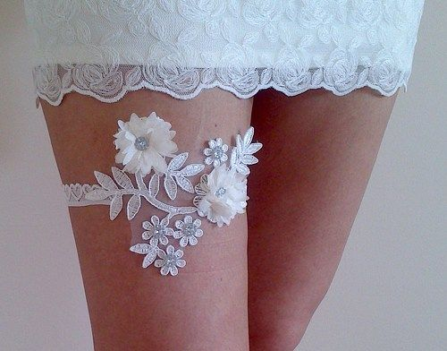 ivory 3D flower wedding garter
