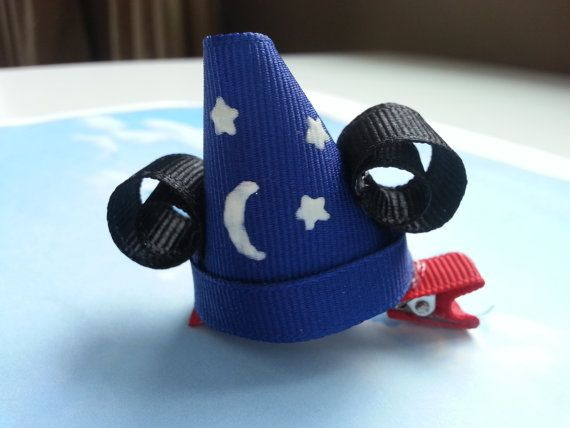 Mickey Sorcerer Hat Inspired Hair Clip- Hat Ribbon Sculpture Hair Clip