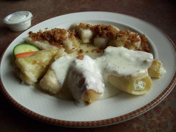 My usual sauerkraut perogie platter at Uncle Ed's/Mundare Sausage, 118th Avenue and 51st Street in Edmonton, Alberta