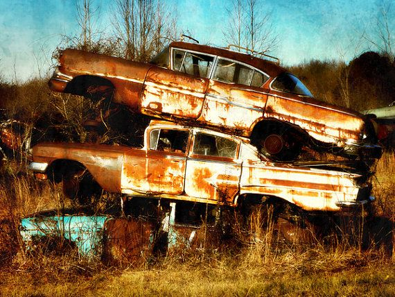 """""""The Three Amigos"""" Junkyard Cars Photo, Vintage Automobiles, Abandoned Cars by RuthandIdgies TiffanyDawnSmithPhotography #Photography #cars"""
