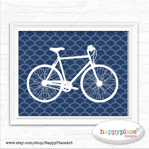 Navy Blue Bike Print Poster. Printable Bicycle by HappyPlaceArt, $8.00