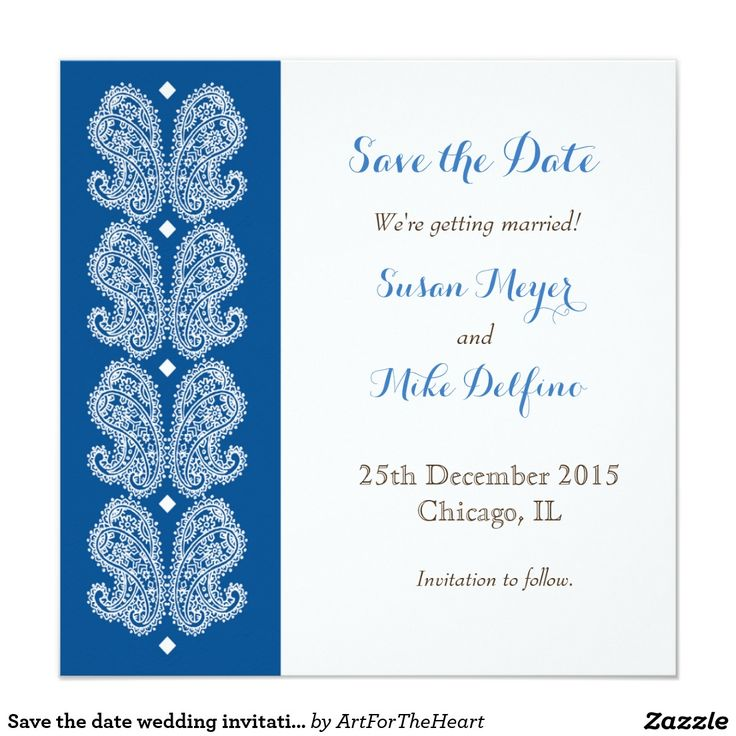 109 best save the date best cards invitations for weddings save the date wedding invitation card paisley blue stopboris Images