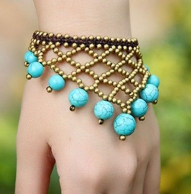 Beads bonito Noble Alta Qualidade Natural Azul Turquesa  cobre Tassel malha Jóias padrão turco lindo pulseira especial em Pulseira com ping...