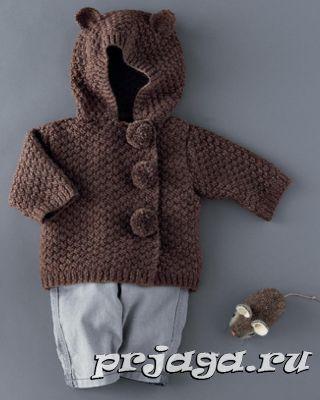 Детское пальто спицами
