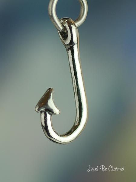 Fish Hook Charm Sterling Silver for Fishing by jewelbecharmed, Recommended by http://www.fishinglondon.co.uk/ Fishing London