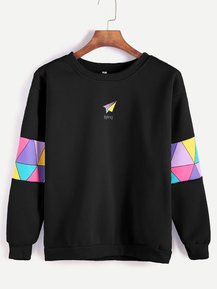 Black Paper Airplane Print Patchwork Trim Sweatshirt