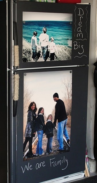 I have seen chalkboard painted fridges before, but never thought to do that with the big freezer in the garage, plus big family photos.  Should we ever get to the garage as a project I have sooo many ideas.