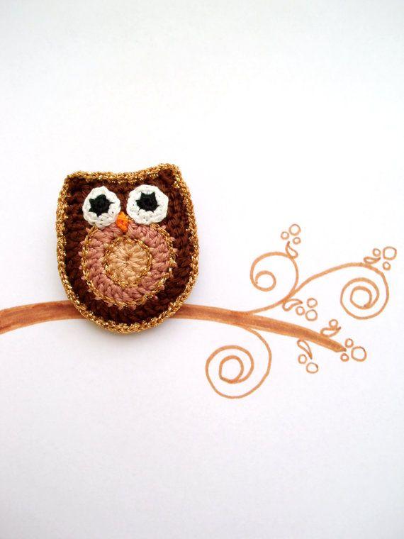 Owl brooch Crochet brooch Crochet pin Golden by LindaLejn on Etsy