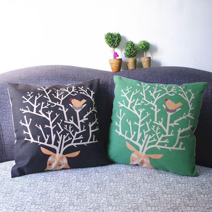 2015 decorative pillows seat cushions for chairs Deers cotton linen throw pillow/bed chair sofa animal cushions,no Cushions core