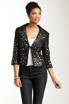 Polli Says JK2318-526 Hand Embroidered Stretch Velveteen Cropped Jacket in