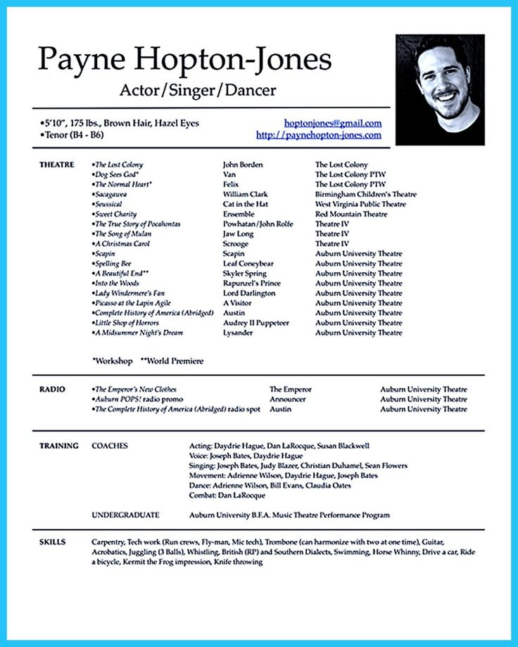 Theatre Resume. Doc Musical Theatre Resume Examples Gk Resume With