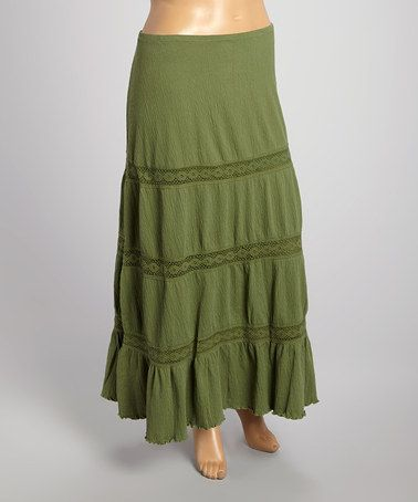 Look what I found on #zulily! Olive Maxi Skirt - Plus by Jean St Tropez #zulilyfinds