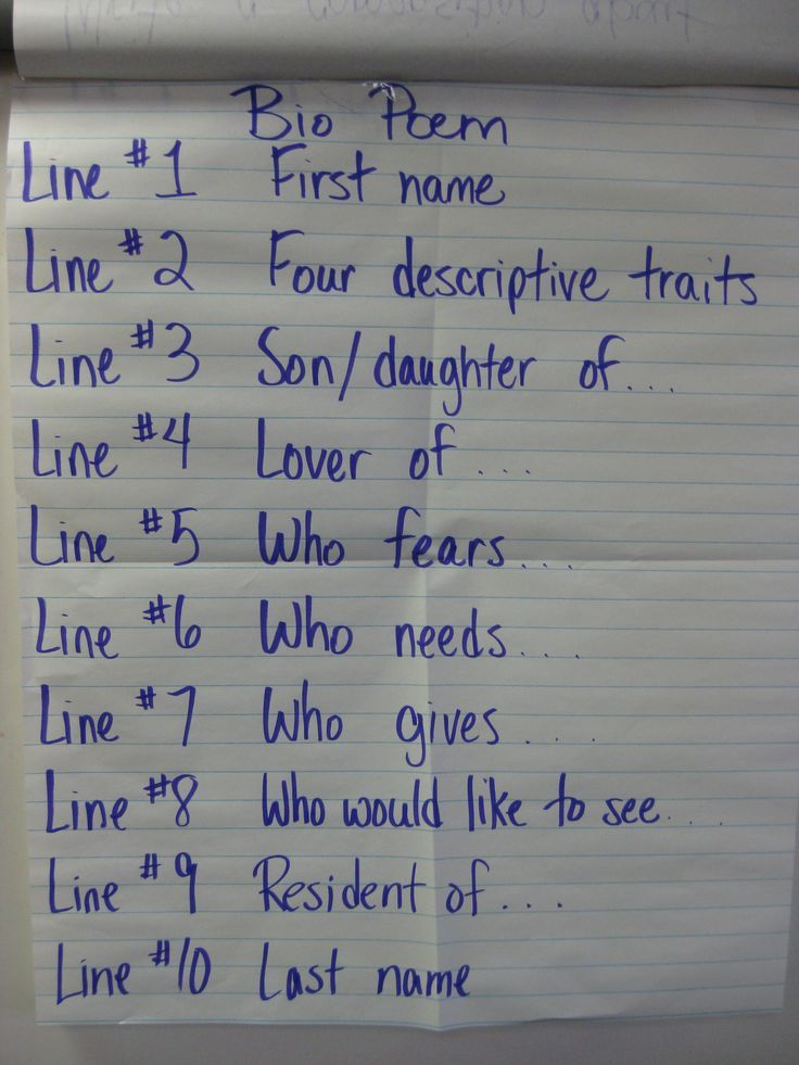 Have you students write a Bio Poem as an opening activity to writing.