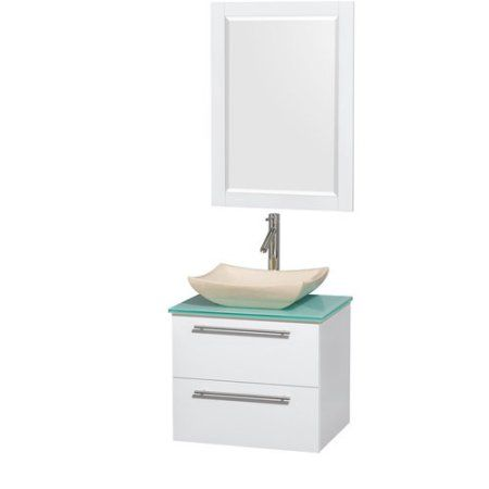 Wyndham Collection Amare 24 inch Single Bathroom Vanity in Glossy White, White Man-Made Stone Countertop, Altair Black Granite Sink, and 24 inch Mirror