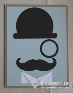 Stampin Up Mustached Monocled Man card. Mustache framlits