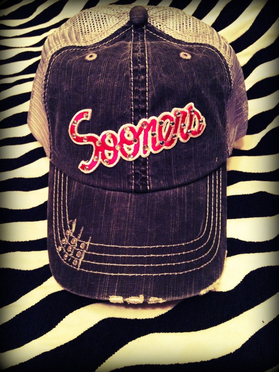 Oklahoma Sooners Distressed Mesh Baseball by CrazyLoveDesigns, $30.00
