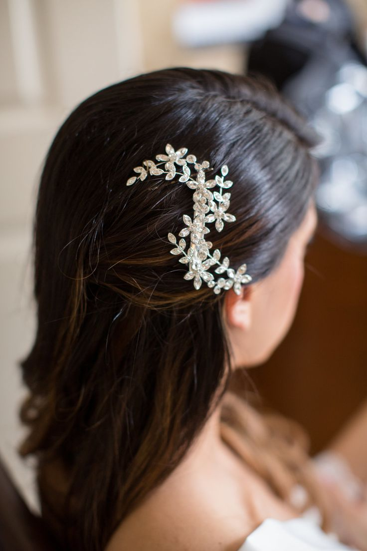 Elegant wedding hairstyle, bejeweled hair brooch, glam bridal style, pin to your own inspiration board // Dani Leigh Photography