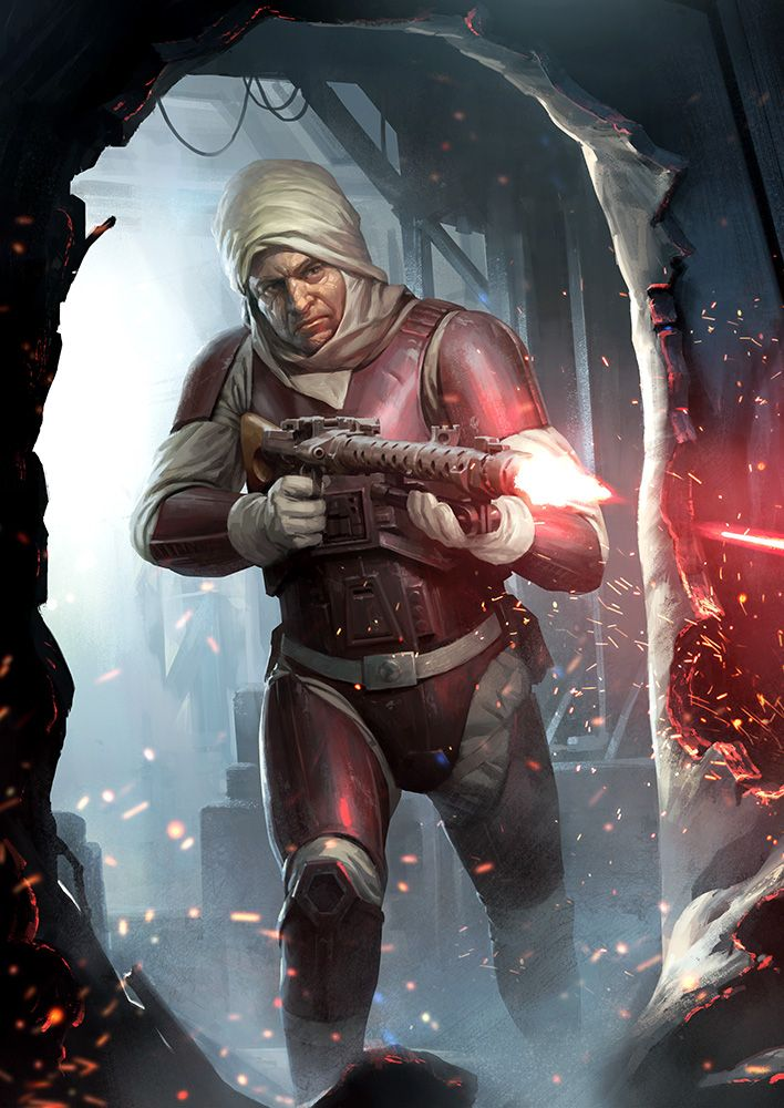 Dengar blasting his way through a breach. Nothing will stop him from collecting his bounty. Alternate card art for Dengar in FFG's Imperial Assault boardgame. Used under authorization and copyright...