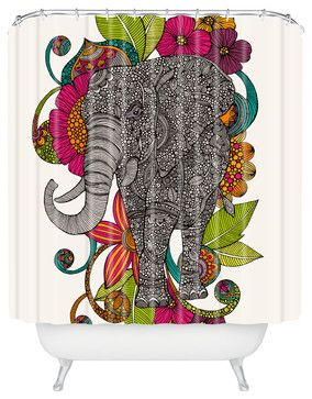 Valentina Ramos Ruby The Elephant Shower Curtain - eclectic - Shower Curtains - DENY Designs