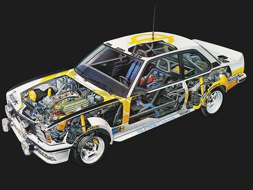 Opel Ascona 400 rally car - cutaway