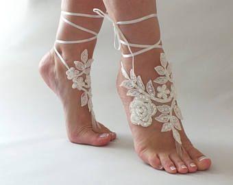 Processo di spiaggia matrimonio a piedi nudi sandali avorio bianco perla mano sandali a piedi nudi di pizzo, merletto francese sposa pizzo sandali, scarpe da sposa pizzo,