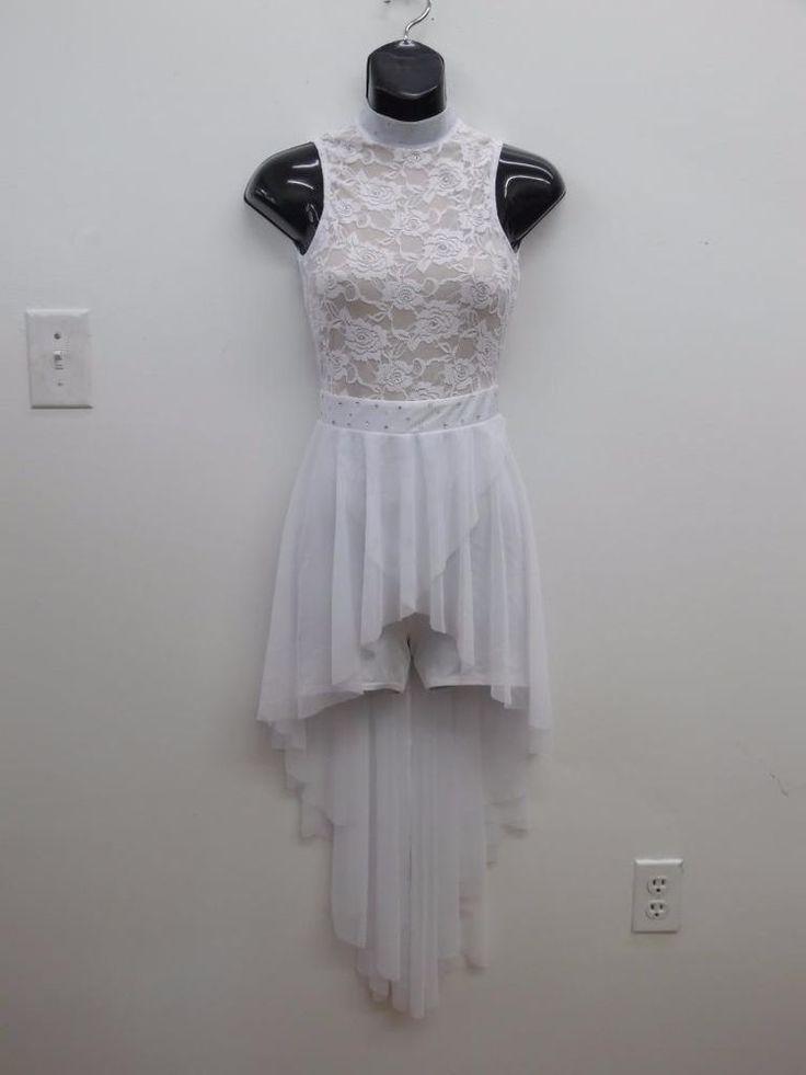 Dance Costume XS Adult White Lace Rhinestone Dress Worship Ballet Lyrical Solo #Kelle