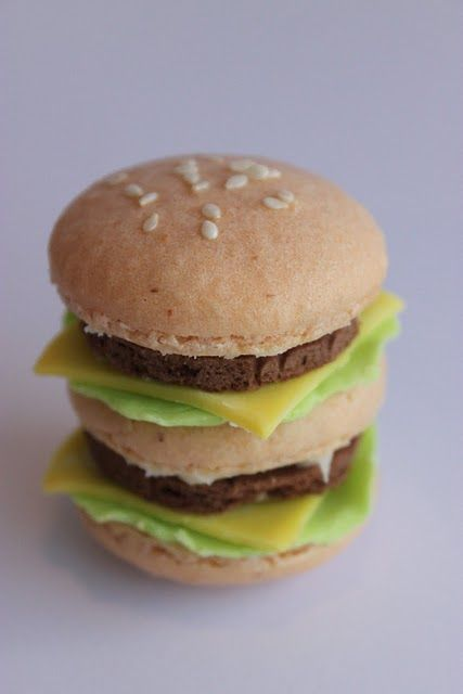 this is a macaroon.  that looks like a cheeseburger.  life can't get much better.