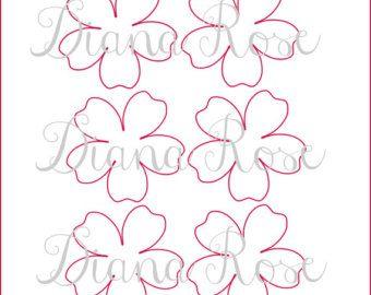 Afdrukbare papier Rose sjablonen - DIY papier bloemen - afdrukbare PDF roos patroon-Rose sjabloon Overzicht-papier bloem sjablonen