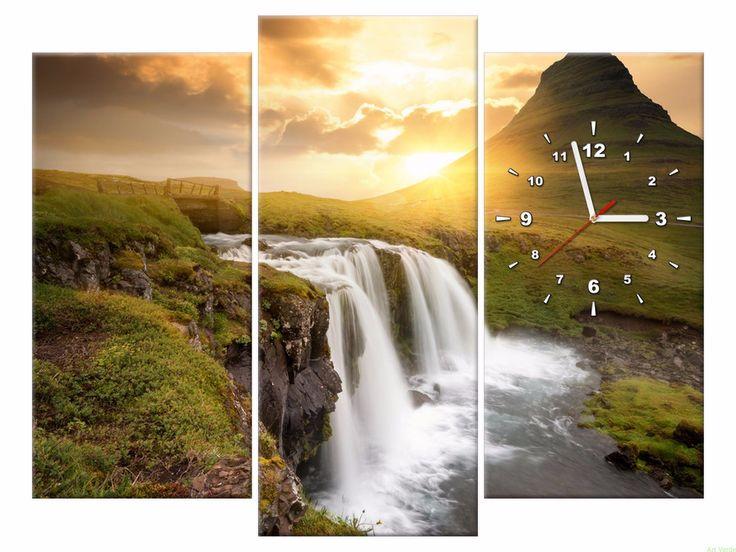 Zegar na płótnie 90X70 Wodospad OBRAZY Z ZEGAREM Galeria obrazów Art Verde