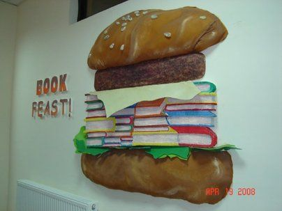 Book Feast Display, classroom display, class display, burger, book, feast, reading, read, fast food, books, Early Years (EYFS),KS1 & KS2 Primary Resources