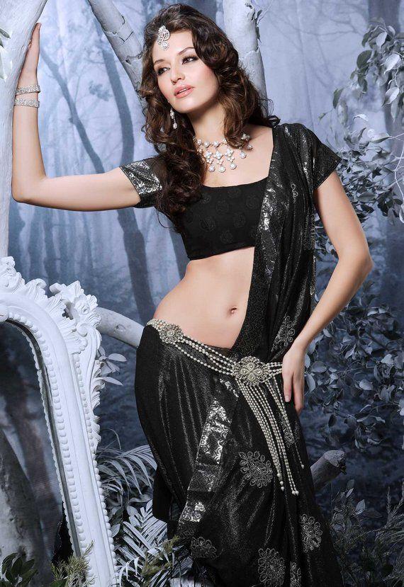 beautiful black saree/sari from sareedreams.com