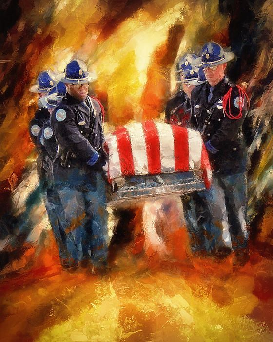 """Painting """"Fallen Officer"""" by Christopher Lane. Powerful Imagery."""