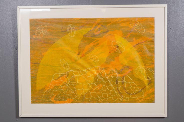 Outi Kirves: Keltainen planeetta, 1996, puupiirros, 66x96 cm, edition 7/20 - Huutokauppa Helander 05/2015